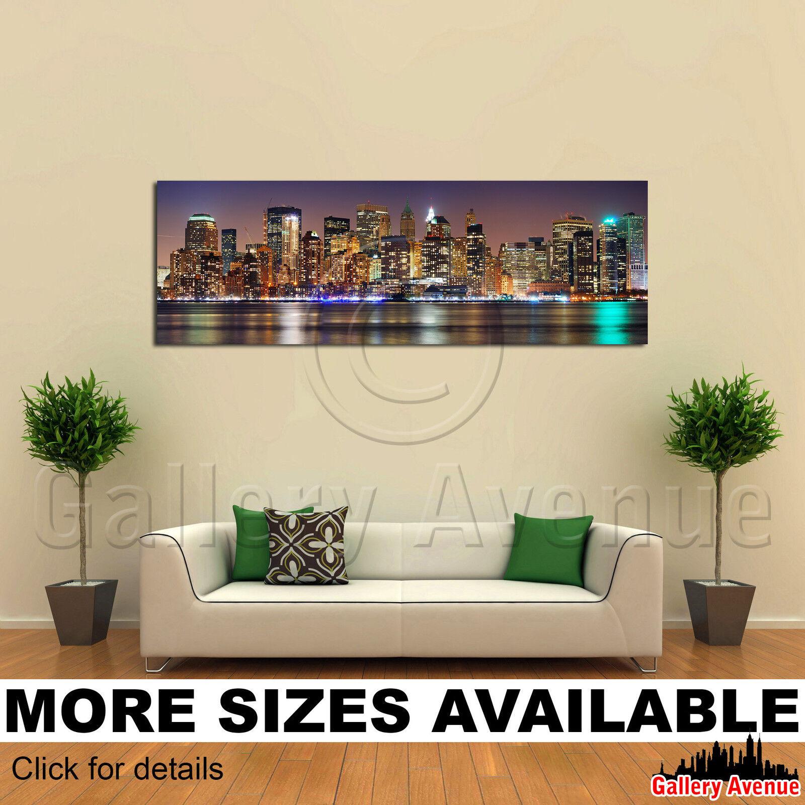 A Wall Art Canvas Picture Print - New York City Night Manhattan Skyline 3.1