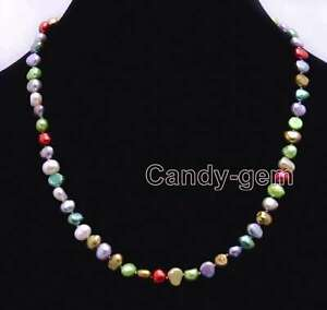 Multicolor-6-7mm-Baroque-Natural-Freshwater-Pearl-Necklace-Women-Chokers-17-039-039