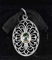 Authentic Pandora Silver &14k Gold Vintage Allure Green Pendant 390348ssg