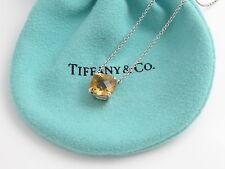 Tiffany & Co Silver Yellow Citrine Gemstone Sparkler Pendant Necklace!
