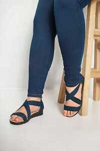 Navy Closed Back Cross Over Sandals