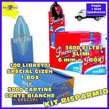 5000 Cartine SPECIAL CORTE  Gizeh Bianche +  FILTRI SMOKING SLIM 6 mm  = 3600