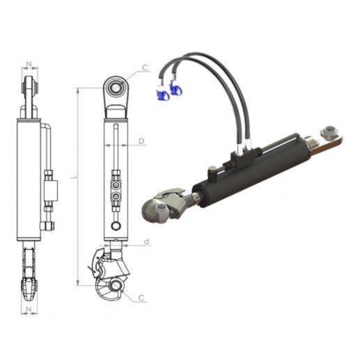 Hydraulischer Oberlenker Kat.2 mit Fanghaken 2x Hydraulikschlauch//Sperrblock#