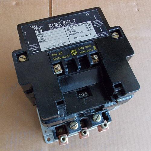Square 3 D 8502 SE02 tamaño 3 Square Contactor 3 Bobina de fase 480 V-Usado 2fcb93