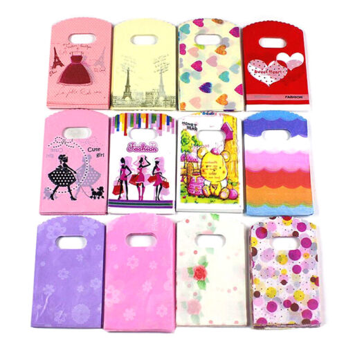 50PC Wholesale Lot Pretty Mixed Pattern Plastic Gift Bag Shopping 15X9CM Lovely*