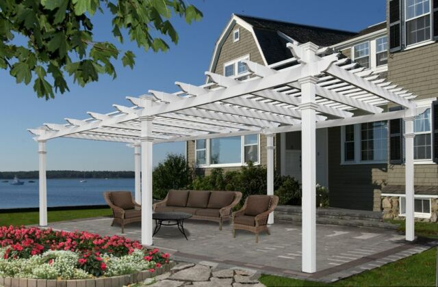 12x24 Ft White Pergola Vinyl Outdoor Patio Garden Shade Shed Plans Accessory Kit
