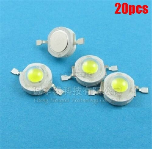 20Pcs 1W Pure White Smd Led Beads 100-110LM qh