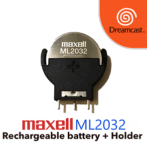 Maxell-ML2032-and-Battery-Holder-Dreamcast-replacement-battery-Free-shipping