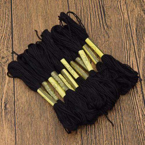 10 pcs Set Noir Fil de broderie main point de croix Floss Sew Skiens À faire soi-même Craft