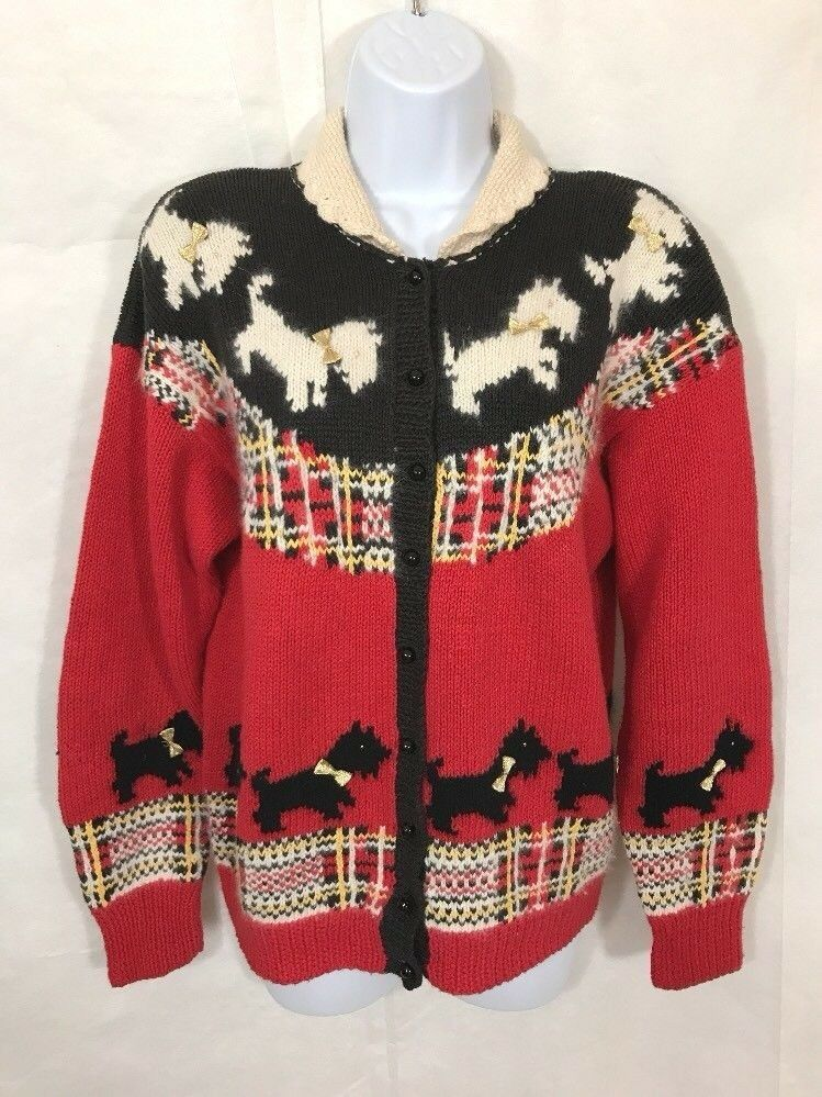 Marisa Christina Vintage Christmas Sweater Hand Knit Scottish Terrier Dogs Sz L