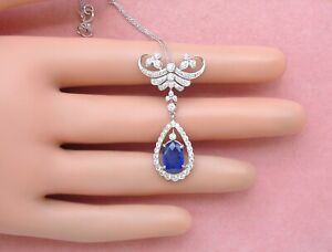 ANTIQUE STYLE 2.8ct OVAL SAPPHIRE 1.1ctw DIAMOND COCKTAIL PENDANT NECKLACE ITALY