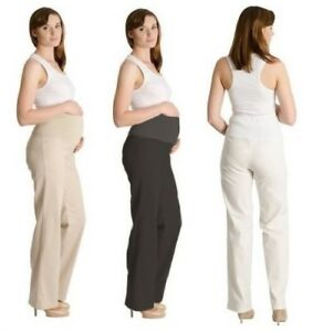 c2bff744efd Details about Maternity Pregnancy Linen Trousers Over Bump Pants Size 8 10  12 14 16 18