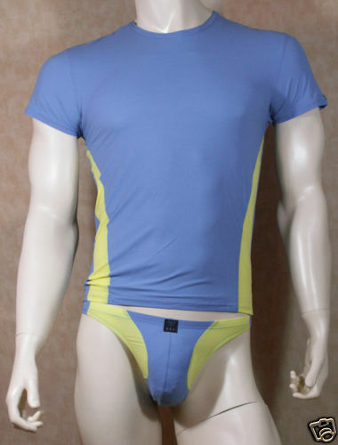 KOMBI SET DESIGNER SHIRT + STRING BLAU-GELB/BODY ART/ Gr. 5 / M