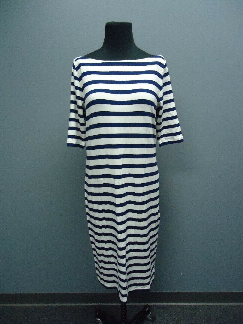 JOFIT Navy White 3   4 Sleeves Striped Knee Length Casual Dress NWT Sz S EE9858