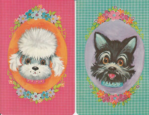 Vintage-Swap-Playing-Card-2-SINGLE-CUTE-POODLE-AND-TERRIER-HEAD