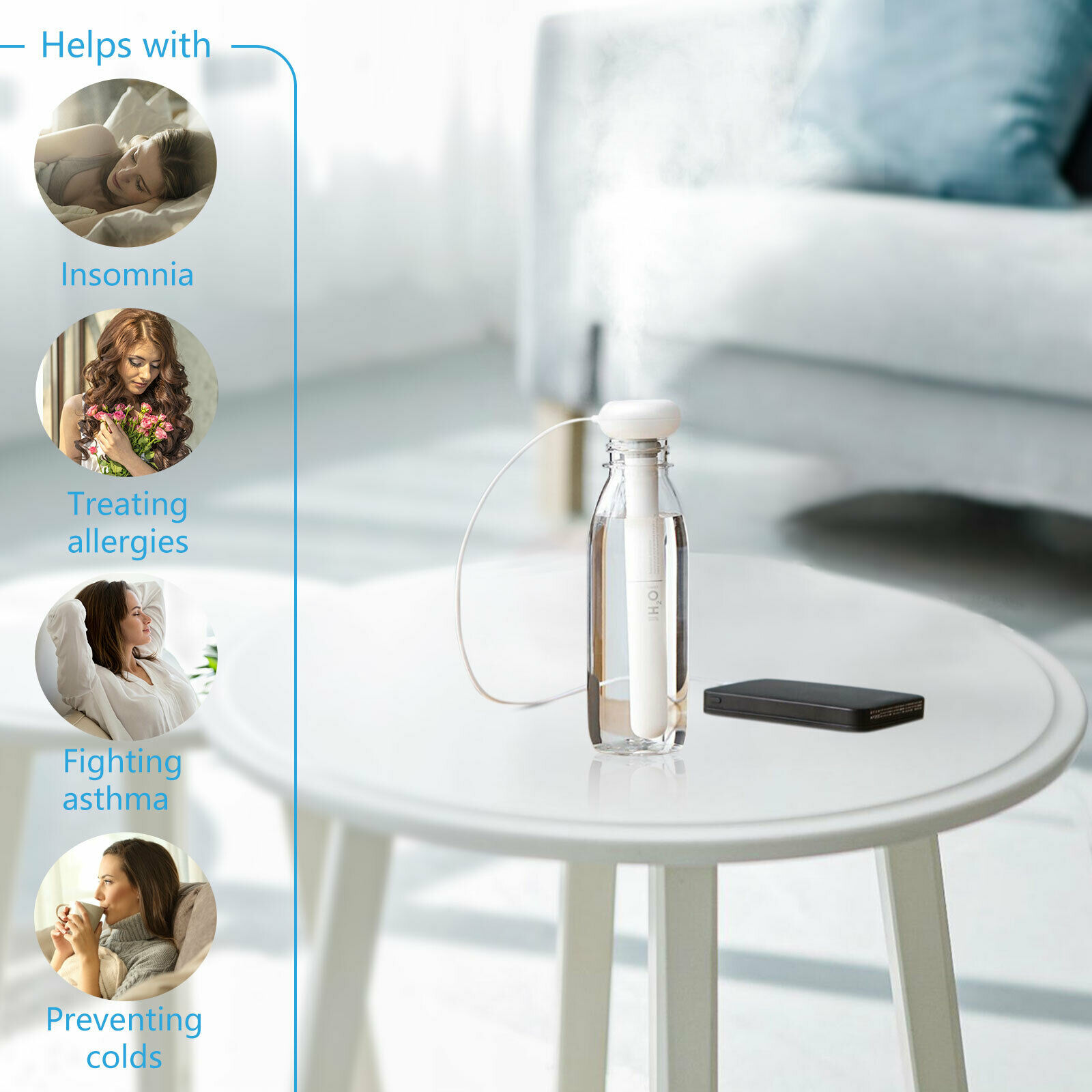 Portable Mini Air Humidifier Water Bottle USB Aroma Maker M5S9 Diffuser E6B7