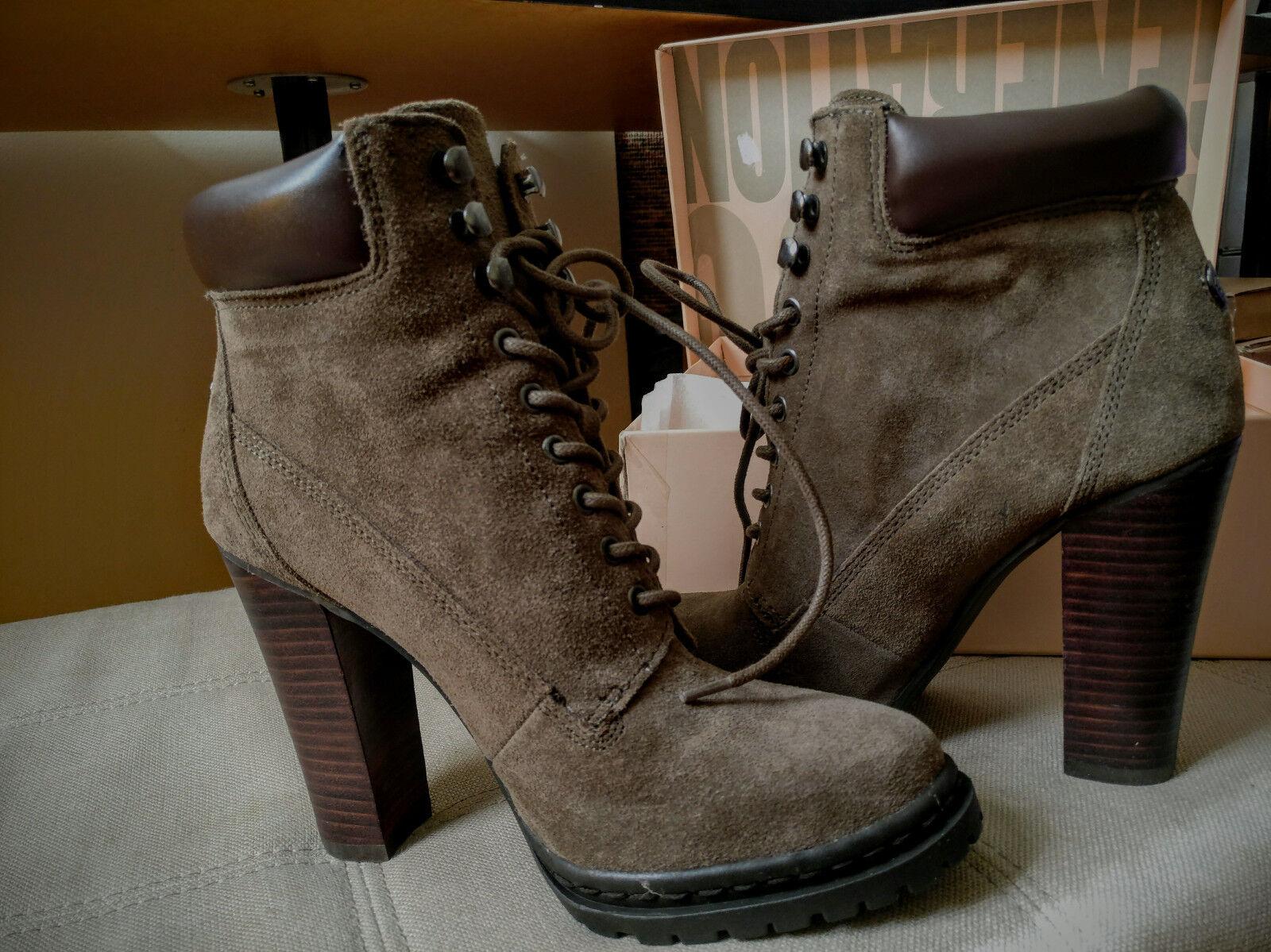 NEW BCBGeneration Women's Maude Suede Bootie   Ankle Boots Dk Olive Oak US 7.5
