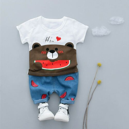 Toddler Kids Baby Boys Girls Bear T-shirt Tee Tops+Shorts Trousers Outfits Sets