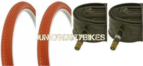 "24x2.125/"" Clay bike bicycle beach cruiser Small Brick TIRES /& TUBE Schwinn s2"