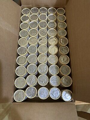 Unsearched $500 Face Value 50 Bank Wrapped Rolls of Kennedy Half Dollars 1 Box