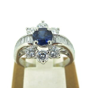 1-50-ct-tw-DIAMONDS-Platinum-73-ct-SAPPHIRE-Beautiful-ENGAGEMENT-Ladies-Ring