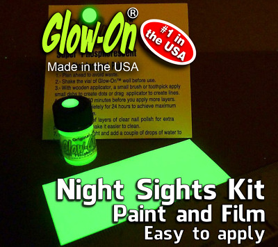 Glow-On® Glow Night Sights Kit, Paint & Film 2.3ml paint +7 x 3.3cm Glow Film