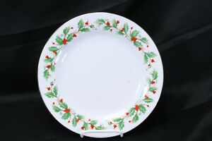 China-Pearl-Noel-Xmas-Dinner-Plates-10-5-034-Lot-of-4-Brown-Back-Stamp