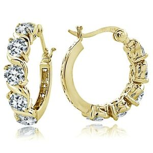 Gold-Tone-over-Sterling-Silver-Cubic-Zirconia-S-Design-Hoop-Earrings