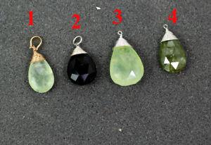 Prehnite-Vasonite-Smoky-Briolette-Pendant-925-Sterling-Silver-Jewelry-MP2305