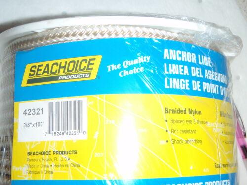 ANCHOR LINE NYLON DOUBLE BRAID SEACHOICE 42321 3//8 X 100FT GOLD AND WHITE