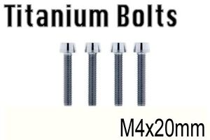 x4 New Grade-5 Titanium Bolt M4x20mm Tapered Head Hex M4 20L Ti-6Al-4V Ti Screw