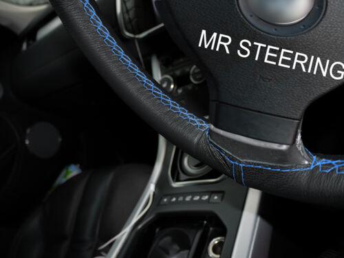 Pour toyota prius MK3 09-15 volant en cuir couverture bleu clair double stitch