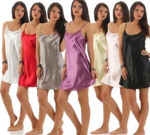 Damen kurzes Negligé Nachtkleid Nachthemd Nachtwäsche Dessous Satin Gr. S M L XL