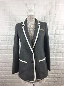 BANANA-REPUBLIC-Women-039-s-Piped-Gray-Hacking-2-Buttoned-Knit-Blazer-Jacket-Sz-6