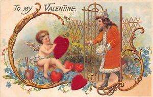 E2-Valentine-039-s-Day-Love-Holiday-Postcard-c1910-Silk-Coat-Heart-Cupid-5