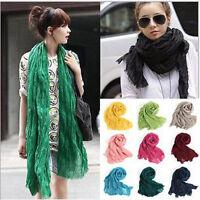 Long Scarf Soft Silk Chiffon Wrap Stole Shawl Womens Fashion Candy Colors Decor