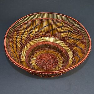 small handmade decorative beaded copper zulu basket.htm gold african zulu glass bead   copper wire decorative basket fair  african zulu glass bead   copper wire