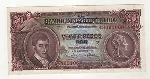 Colombia-20-Pesos-de-Oro-1961-Pick-401c-aUNC-Almost-Uncirculated-Banknote