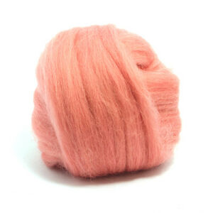50g Dyed Merino Wool Top Salmon Pink Dreads Needle Spinning Felting Roving