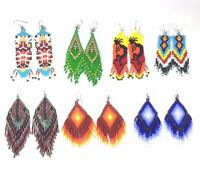 Handmade Long Beaded Native Style Inspired Hook Chandelier Big Earrings