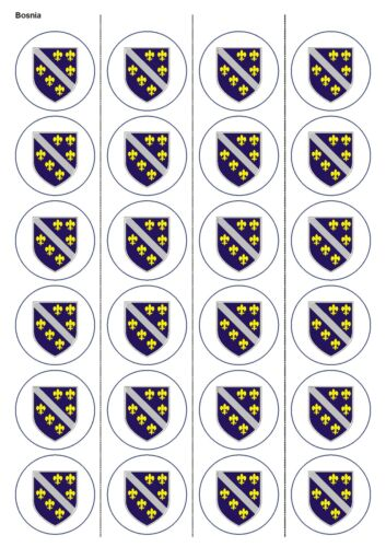 CUPCAKE CAKE TOPPERS 1176 24X PRECUT BOSNIA FLAG BIRTHDAY EDIBLE WAFER PAPER
