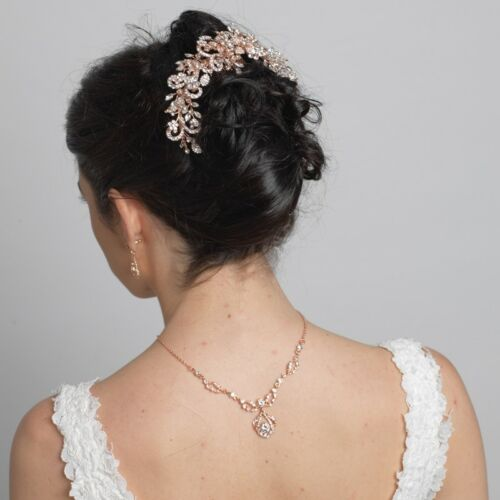 Rose Gold Rhinestone Bridal Wedding Prom Sweet 16 Quince Side Hair Comb Bun Wrap