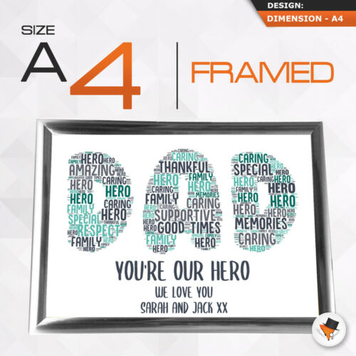 Personalised Word Art Gifts Dad Daddy Father Him Framed Best Card Christmas