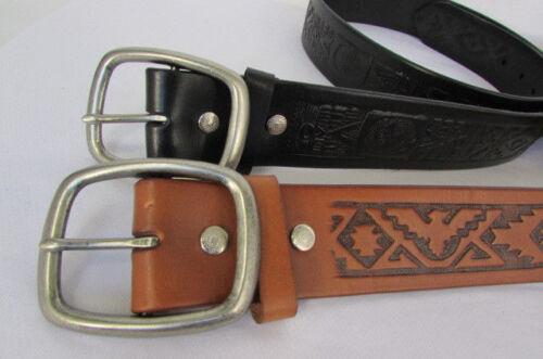Men Western Brown Black Fashion Carved Genuine Leather Charro Belt Size 34 36 38
