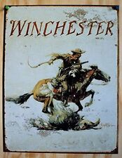 Winchester Logo Cowboy with Gun on Horse Distressed Retro Vintage Metal Tin Sign