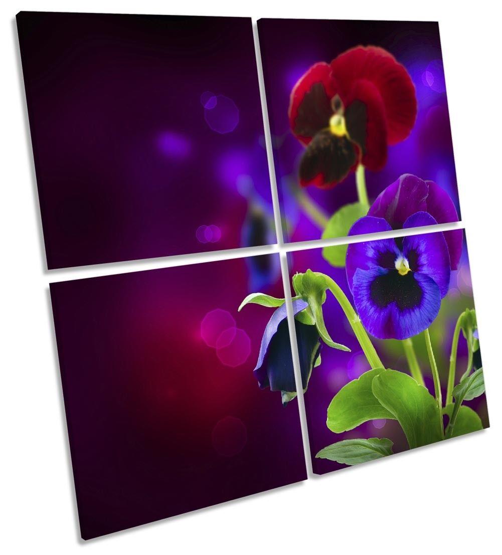 Flores de color púrpura pensamiento pared Floral Picture MULTI LONA pared pensamiento arte Cuadrado a2899f