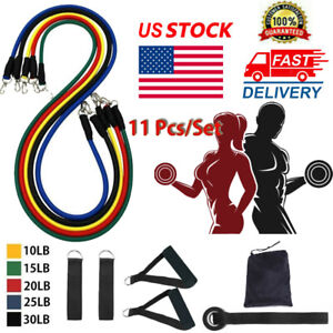 11Pcs//Set Resistance Bands Workout Exercise Yoga Crossfit Fitness Training Tube~