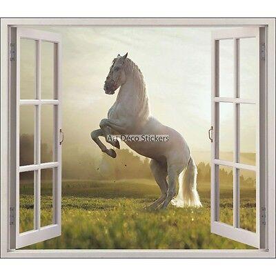 Sticker trompe l/'oeil fenêtre déco Cheval réf 719