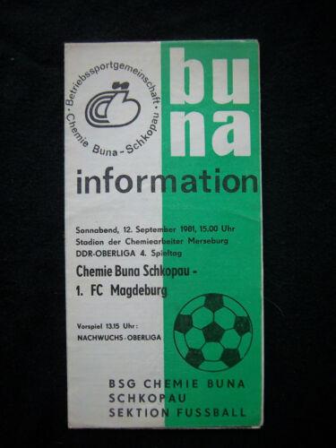 Orig.PRG   DDR Oberliga  1981/82   BSG CHEMIE BUNA SCHKOPAU - 1.FC MAGDEBURG  !!