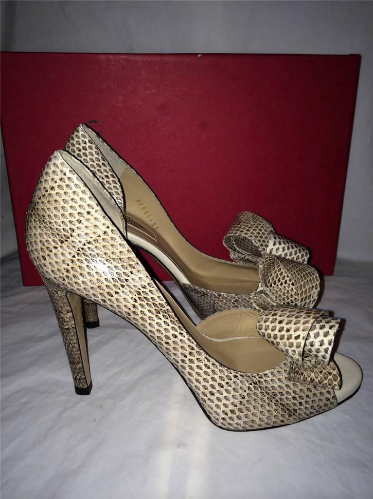 Valentino Valentino Valentino Couture Bow D'Orsay Open Toe Snake Leather Pumps Heels schuhe 37  1345 e2b732